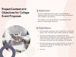 Project Context And Objectives For College Event Proposal Ppt Powerpoint Example