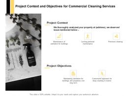 Project Context And Objectives For Commercial Cleaning Services Ppt Slides