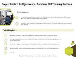 Project Context And Objectives For Company Staff Training Services Ppt Powerpoint Topics