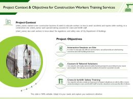 Project Context And Objectives For Construction Workers Training Services Ppt Slide Download