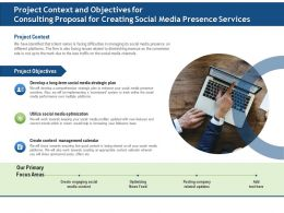 Project Context And Objectives For Consulting Proposal For Creating Social Media Presence Services Ppt Example File