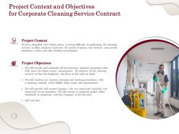 Project Context And Objectives For Corporate Cleaning Service Contract Ppt Powerpoint Grid
