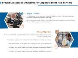 Project Context And Objectives For Corporate Event Film Services Ppt File Display