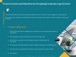 Project Context And Objectives For Designing Corporate Logo Services Ppt Powerpoint Topics