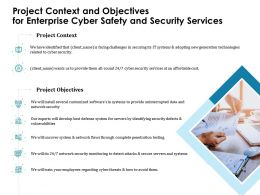 Project Context And Objectives For Enterprise Cyber Safety And Security Services Ppt Infographics