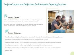 Project Context And Objectives For Enterprise Opening Services Ppt Templates