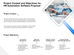 Project Context And Objectives For HR Automation Software Proposal Ppt Inspiration