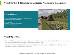 Project Context And Objectives For Landscape Planning And Management Ppt Slides