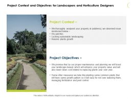Project Context And Objectives For Landscapers And Horticulture Designers Ppt Slides