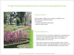 Project Context And Objectives For Lawn And Landscape Services Ppt Slides