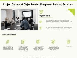 Project Context And Objectives For Manpower Training Services Ppt Powerpoint Presentation Slides