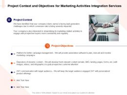 Project Context And Objectives For Marketing Activities Integration Services Ppt Images