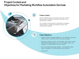 Project Context And Objectives For Marketing Workflow Automation Services Severely Ppt Design Templates