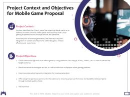 Project Context And Objectives For Mobile Game Proposal Certain Advertisements Ppt Presentation Slides