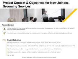 Project Context And Objectives For New Joinees Grooming Services Ppt Presentation Slide
