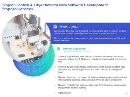 Project Context And Objectives For New Software Development Proposal Services Ppt Presentation Deck