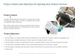 Project Context And Objectives For Opening New Venture Services Ppt Powerpoint Clipart
