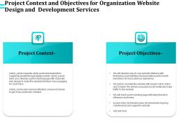 Project Context And Objectives For Organization Website Design And Development Services Ppt Slides