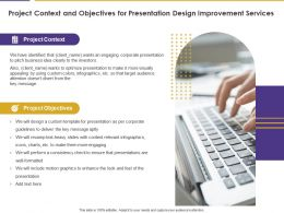 Project Context And Objectives For Presentation Design Improvement Services Ppt Slides