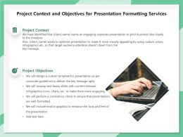 Project Context And Objectives For Presentation Formatting Services Ppt Gallery