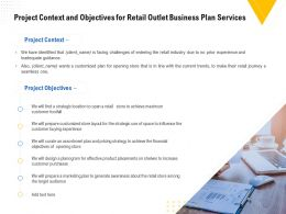 Project Context And Objectives For Retail Outlet Business Plan Services Ppt Inspiration
