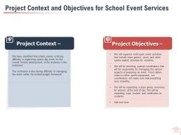 Project Context And Objectives For School Event Services Ppt Powerpoint Presentation Styles Files