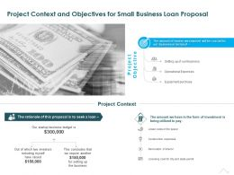 Project Context And Objectives For Small Business Loan Proposal Ppt Presentation Graphics