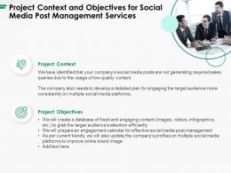 Project Context And Objectives For Social Media Post Management Services Ppt Icon Layout Ideas