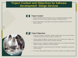 Project Context And Objectives For Software Development Design Services Ppt Icon