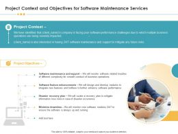 Project Context And Objectives For Software Maintenance Services Ppt Templates
