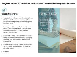 Project Context And Objectives For Software Technical Development Services Ppt Ideas
