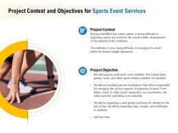 Project Context And Objectives For Sports Event Services Ppt Inspiration