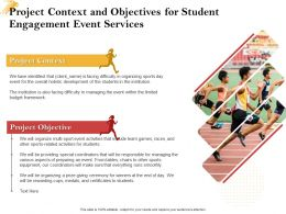Project Context And Objectives For Student Engagement Event Services Ppt Powerpoint Maker