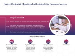 Project Context And Objectives For Sustainability Business Services Ppt Powerpoint Icon