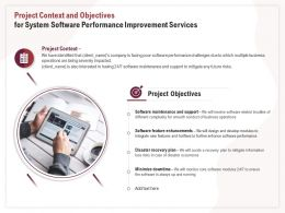 Project Context And Objectives For System Software Performance Improvement Services Ppt Clipart