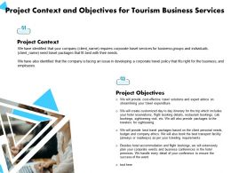 Project Context And Objectives For Tourism Business Services Ppt Powerpoint Presentation Samples