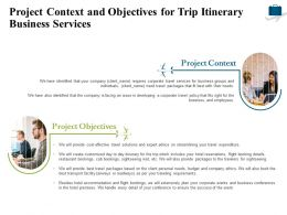 Project Context And Objectives For Trip Itinerary Business Services Ppt Powerpoint Designs