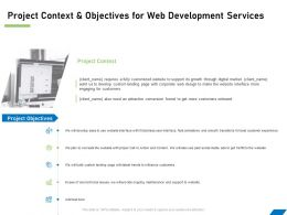 Project Context And Objectives For Web Development Services Ppt Powerpoint File Formats