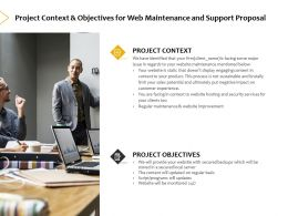 Project Context And Objectives For Web Maintenance And Support Proposal Ppt Slides