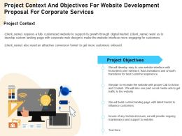 Project Context And Objectives For Website Development Proposal For Corporate Services Ppt File Aids