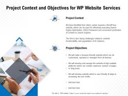 Project Context And Objectives For WP Website Services Ppt Visual Aids Infographics