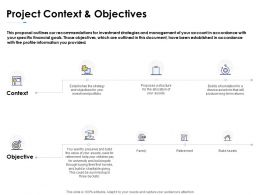 Project Context And Objectives Planning Ppt Powerpoint Presentation Icon Maker