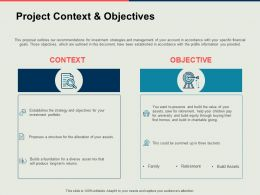 Project Context And Objectives Success Ppt Powerpoint Presentation Ideas Icon