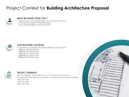 Project Context For Building Architecture Proposal Ppt Powerpoint Presentation Model Summary