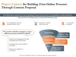 Project Context For Building Firm Online Presence Through Content Proposal Ppt Portfolio