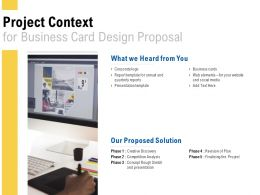 Project Context For Business Card Design Proposal Ppt Powerpoint Presentation Pictures