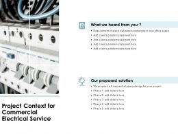 Project Context For Commercial Electrical Service Ppt Slides