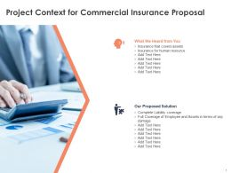 Project Context For Commercial Insurance Proposal Ppt Powerpoint Presentation File