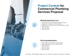 Project Context For Commercial Plumbing Services Proposal Ppt Powerpoint Presentation Styles Slides