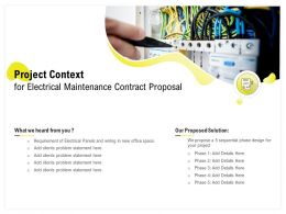 Project Context For Electrical Maintenance Contract Proposal Ppt Powerpoint File